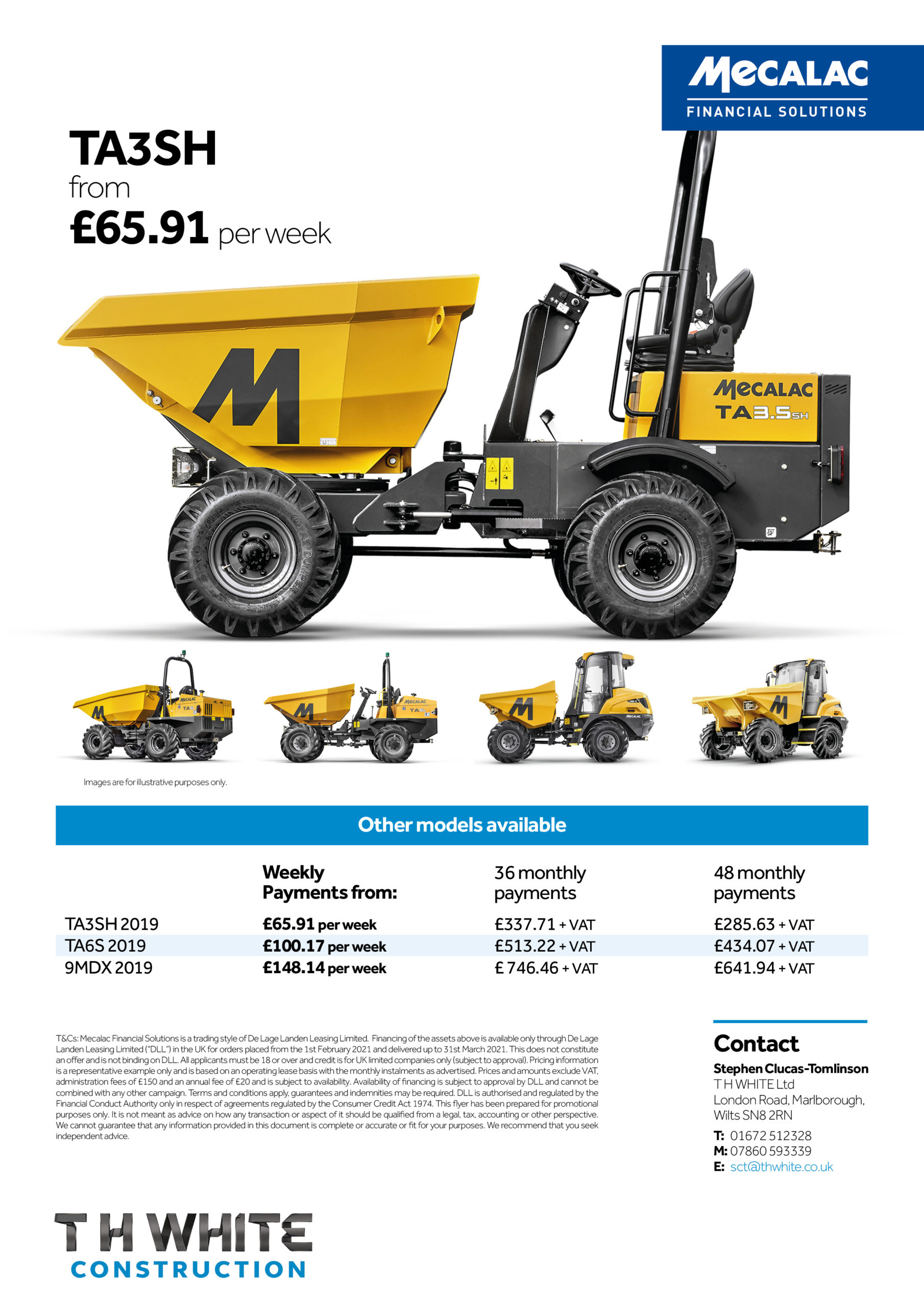 Mecalac Finance on selected models